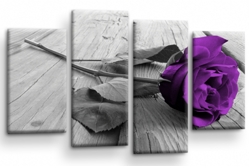 Purple Rose Floral Wall Art Flower Split Panel Canvas Picture Print
